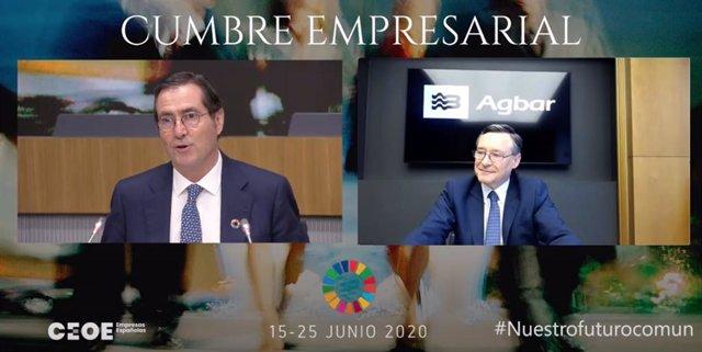 El presidente de Agbar, Ángel Simón, junto con el presidente de la CEOE, Antonio Garamendi