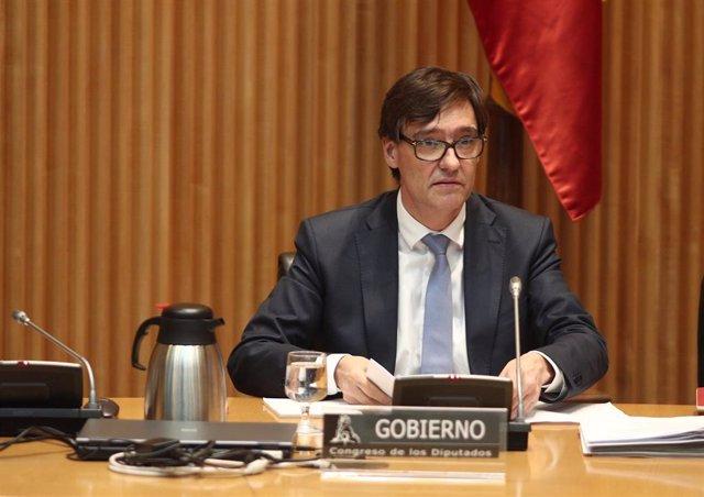 El ministro de Sanidad, Salvador Illa, durante su comparecencia en el Congreso de los Diputados en Comisión de Sanidad y Consumo, para dar detalles sobre la evolución de la pandemia de coronavirus en España. En Madrid (España), a 11 de junio de 2020.