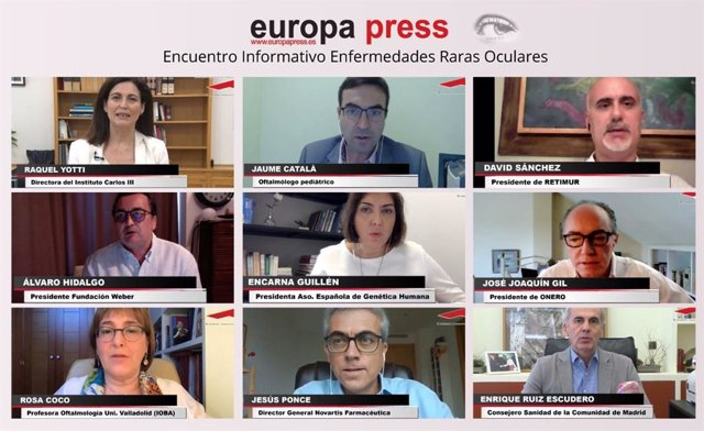 """Expertos en la materia participan en el Encuentro Digital de Europa Press: """"Una mirada a las Enfermedades Raras Oculares: La importancia del diagnóstico precoz"""", a 18 de junio de 2020."""