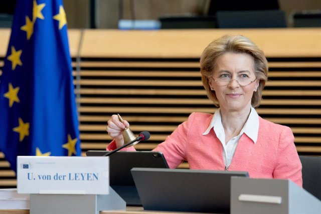 HANDOUT - 17 June 2020, Belgium, Brussels: European Commission President Ursula von der Leyen holds the weekly commissioners meeting. Photo: Etienne Ansotte/European Commission/dpa - ATTENTION: editorial use only and only if the credit mentioned above is