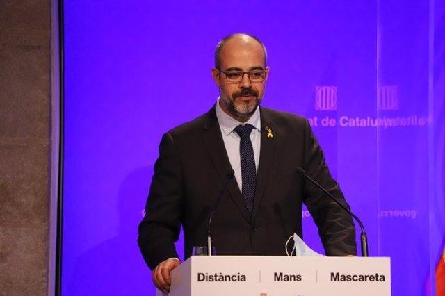 El conseller de Interior de la Generalitat, Miquel Buch, en la rueda de prensa para informar sobre la fase de reanudación en Catalunya