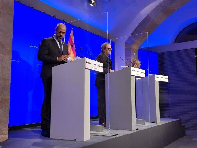 (I-D) El conseller d'Interior, Miquel Buch; el president de la Generalitat, Quim Torra, i la consellera de Salut, Alba Vergés, en roda de premsa el 18 de juny de 2020.