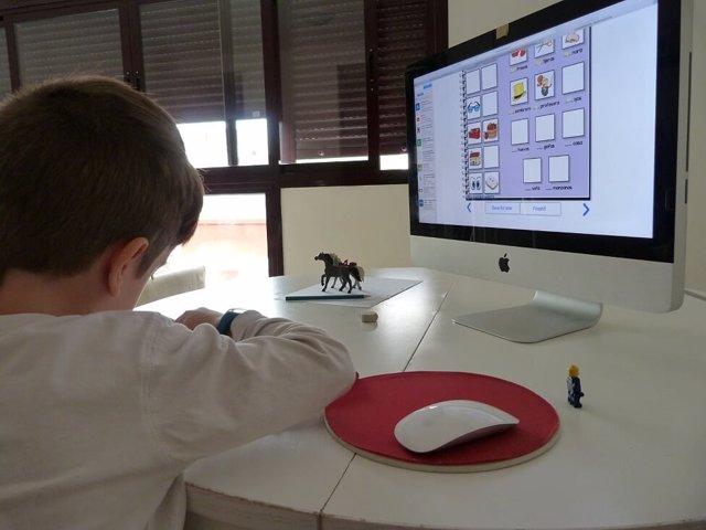 Niño, ordenador, Internet, colegio