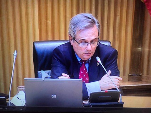 Rafael Matesanz durante su intervención en la Comisión para la Reconstrucción Social y Económica.