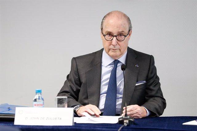 El presidente del Círculo de Empresarios, John de Zulueta, durante la presentación del documento de propuestas de reformas y medidas económicas para la próxima legislatura.