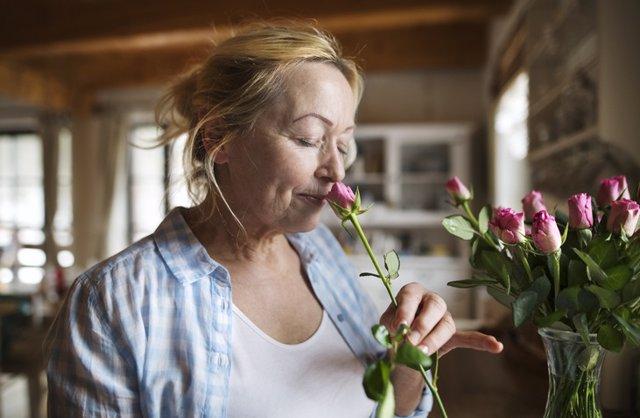 Mujer madura oliendo una rosa. Olfato, oler. Mujer mayor. Feliz