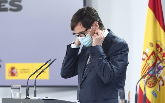El ministro de Sanidad, Salvador Illa, durante una rueda de prensa sobre la recogida y actualización de las series de datos epidemiológicos en España, en Madrid (España), a 19 de junio de 2020.