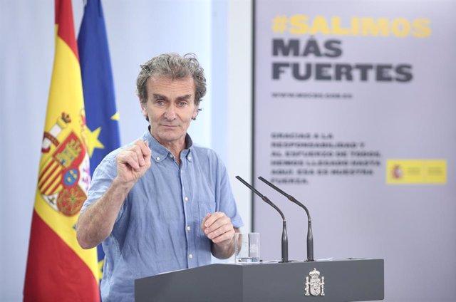 El director del CCAES, Fernando Simón, en una roda de premsa sobre la recollida i actualització de les dades epidemiològiques a Espanya, Madrid (Espanya), 19 de juny del 2020.