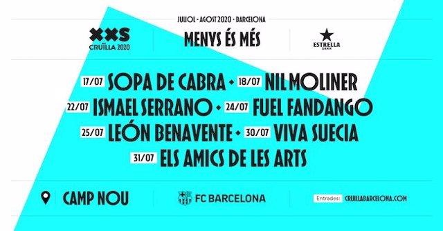 Cartel del ciclo de conciertos que acogerá el estadio del Camp Nou de Barcelona en el marco del Cruïlla XXS