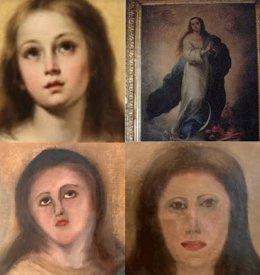 Arriba: Imagen de una Inmaculada original (i) y la copia del coleccionista . Abajo: Resultado de las dos intervenciones sobre la copia