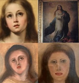 Arriba: Imagen de una Inmaculada original (i) y la copia del coleccionista. Abajo: resultado de las intervenciones sobre la copia