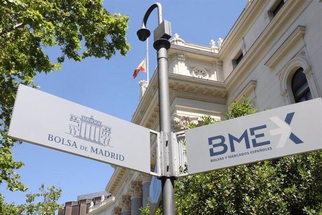 Señal que indica la Bolsa de Madrid