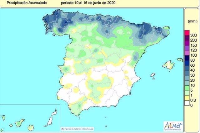 Las lluvias acumuladas desde el 1 de octubre de 2019 hasta el 16 de junio superan en un 17% el valor normal, según AEMET