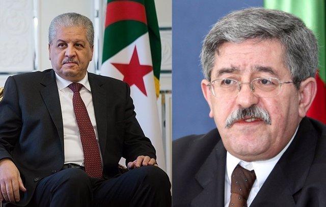 Primeros ministros argelinos Ahmed Uyahia (d) y Abdelmalek Sellal (i)