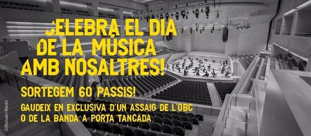 L'Auditori de Barcelona sortea entradas con motivo del Día de la música