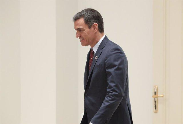 El presidente del Gobierno, Pedro Sánchez, a su llegada a la presentación del Plan de Impulso al Sector Turístico.