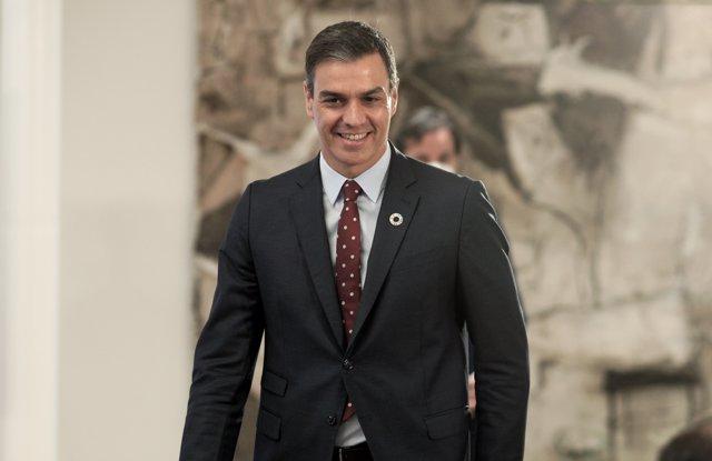 El presidente del Gobierno, Pedro Sánchez, a su llegada a la presentación del Plan de Impulso al Sector Turístico