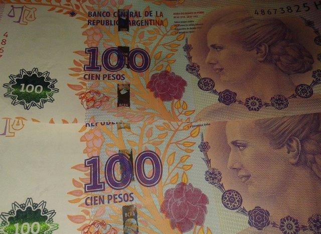 Billetes de peso argentino.