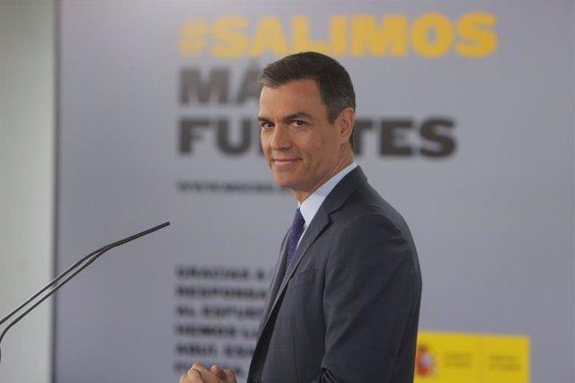 El president del Govern, Pedro Sánchez, durant la seva compareixença en roda de premsa en el Palau de la Moncloa.