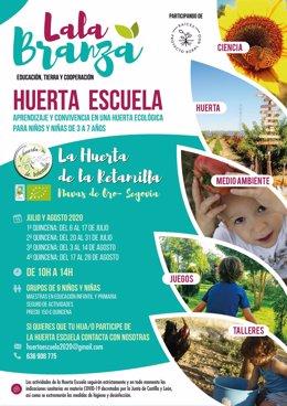 Cartel de actividades de verano de la Asociación Lala Branza, en Segovia.