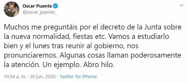 Tuit del alcalde de Valladolid, Óscar Puente, sobre el plan de la Junta para la 'nueva normalidad'.