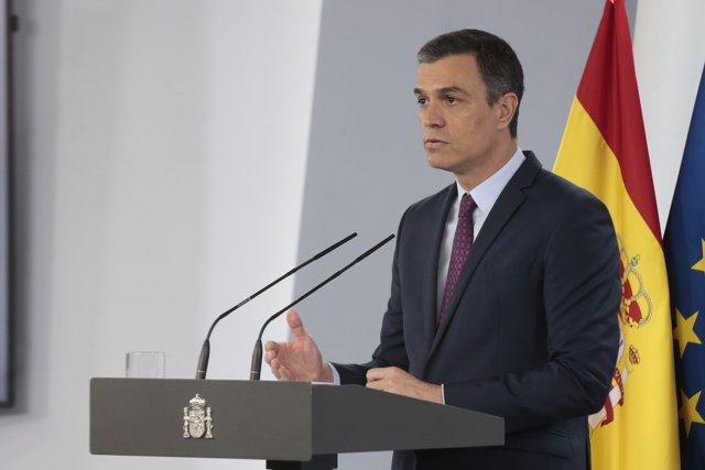 El presidente del Gobierno, Pedro Sánchez, durante la comparecencia para despedir el estado de alarma, en Madrid, (España), a 20 de junio de 2020.