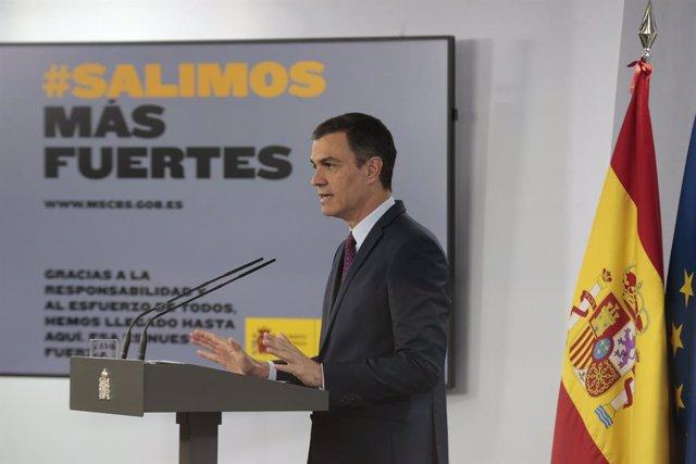 El presidente del Gobierno, Pedro Sánchez, durante la comparecencia