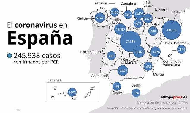 Mapa de España del último balance de sanidad donde han informado de siete muertes y 134 contagios por Covid-19 en 24 horas. En Madrid, (España), a 20 de junio de 2020.