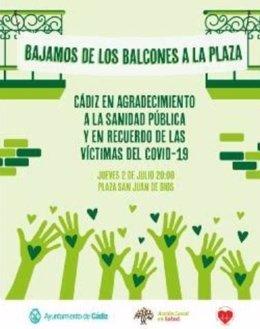 Cartel del acto de homenaje a la Sanidad Pública y en recuerdo de las víctimas del Covid-19