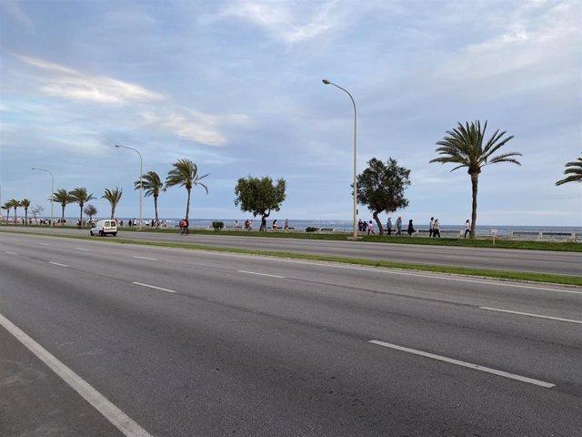 Paseo Marítimo de Palma, el sábado 2 de mayo, en la fase 0 de la desescalada durante el estado de alarma.