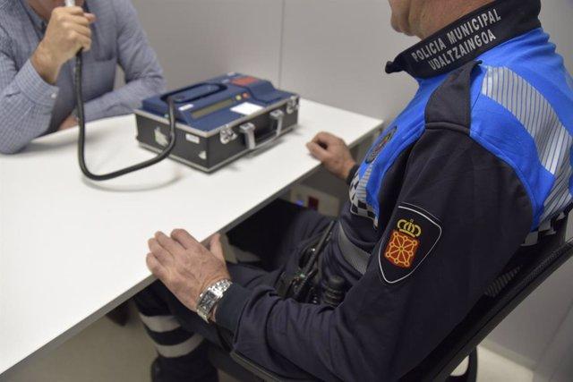Control de alcoholemia de la Policía Municipal de Pamplona