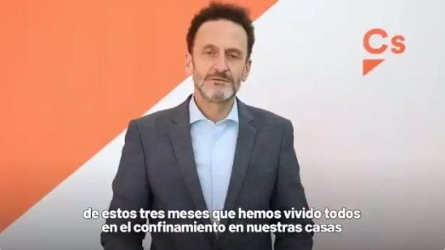 El portaveu adjunt de Cs al Congrés, Edmundo Bal, en un vídeo en el qual fa balanç de l'estat d'alarma a Espanya