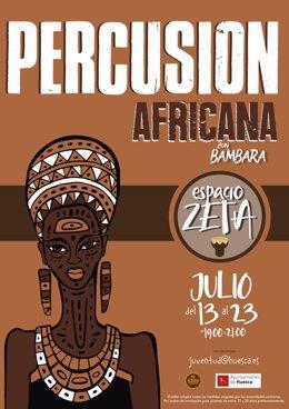 Cartel taller percusión africana