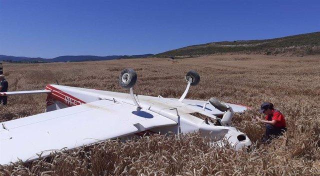 Avioneta accidentada en Aibar