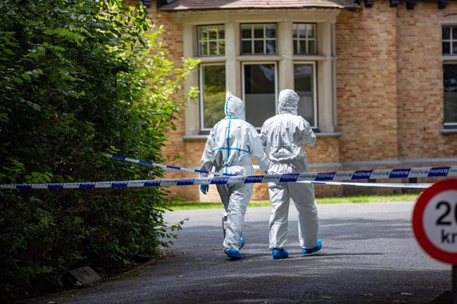 20 June 2020, Belgium, Bruges: Forensics investigate at the scene where the Mayor of Bruges De Fauw was stabbed outside his office. His condition is said to be stable while the suspect was arrested. Photo: Kurt Desplenter/BELGA/dpa