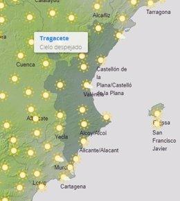 Mapa de previsión del tiempo en la Comunitat Valenciana para este lunes 22 de junio de 2020.