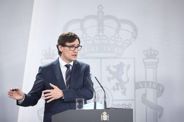 El ministro de Sanidad, Salvador Illa, durante su intervención en una rueda de prensa sobre la recogida y actualización de las series de datos epidemiológicos en España, en Madrid (España), a 19 de junio de 2020.