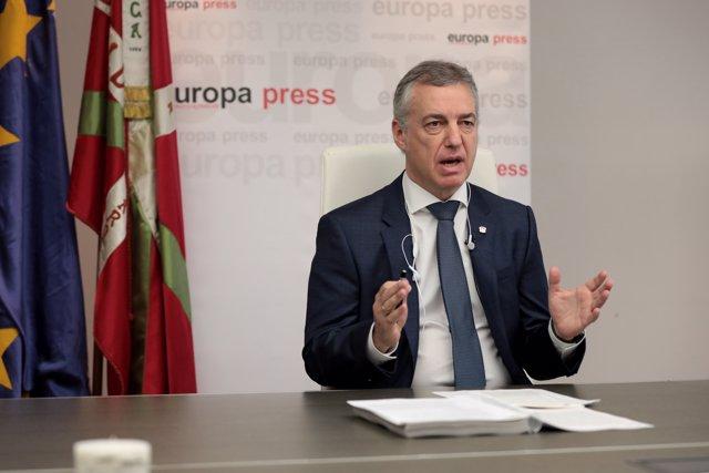 El lehendaki del Gobierno Vasco, Iñigo Urkullu, durante uno de los encuentros digitales de Europa Press, en Vitoria-Gasteiz, Álava, País Vasco (España), a 22 de junio de 2020.