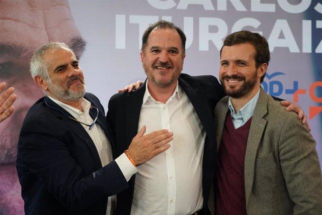 El candidato a lehendakari de la coalición PP+Cs, Carlos Iturgaiz, el presidente del PP, Pablo Casado, y el presidente de Cs en el Parlamento de Cataluña, Carlos Carrizosa. En Santurce (Vizcaya/País Vasco/España),  7 de marzo de 2020.