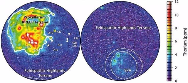 Distribución de torio en la superficie lunar