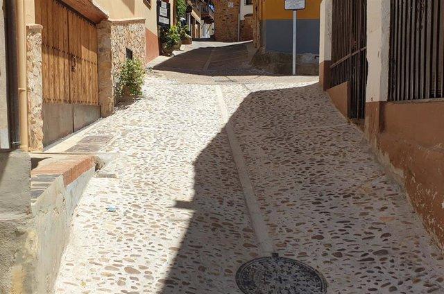 Tramo de la calle La Cruz, en Guadalupe (Cáceres)