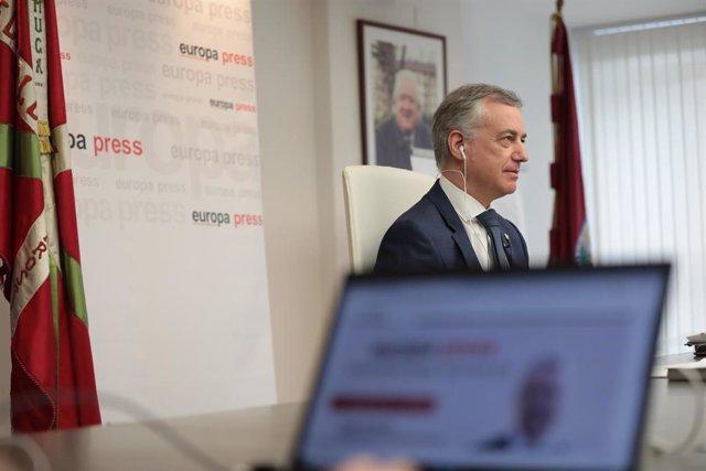 El lehendaki del Gobierno Vasco, Iñigo Urkullu, durante uno de los encuentros digitales de Europa Press, en Vitoria-Gasteiz, Álava, País Vasco