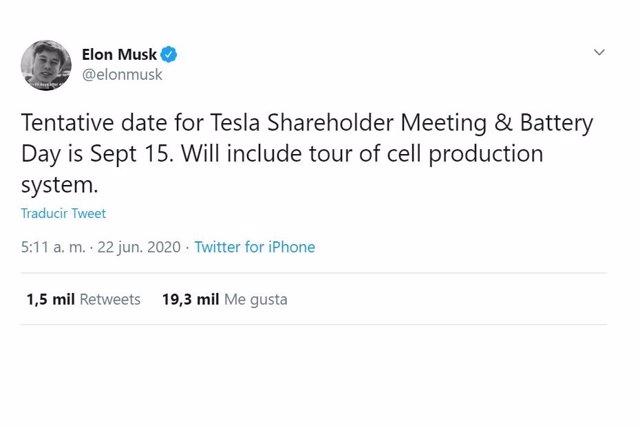 Twit de Elon Musk.