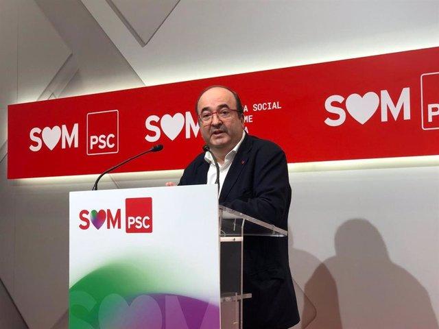El primer secretario del PSC, Miquel Iceta, en rueda de prensa este lunes 22 de junio