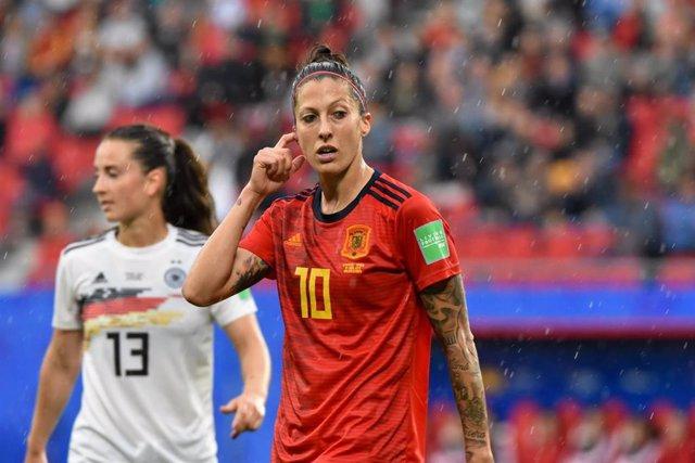 La jugadora de la selección femenina española de fútbol Jennifer Hermoso durante el partido ante Alemania del Mundial de Francia