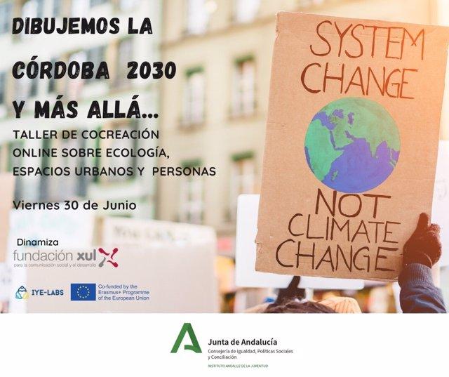 Cartel sobre el taller de ecología, espacios urbanos y personas para una Córdoba sostenible
