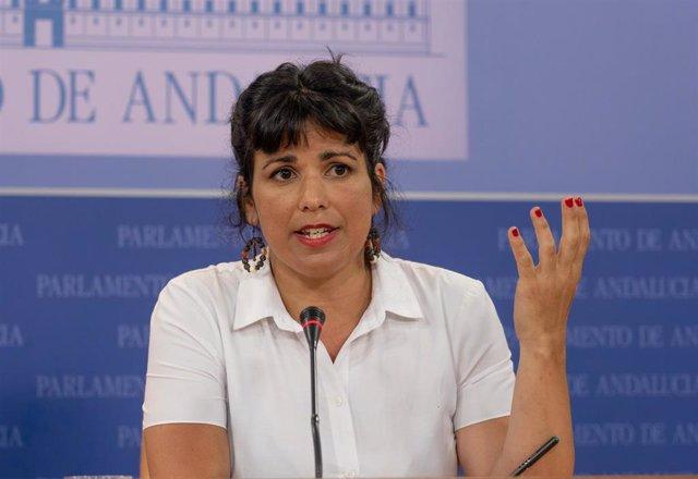 Rueda de prensa de la portavoz de Adelante Andalucía, Teresa Rodríguez, en el Parlamento de Andalucía. Sevilla 22 de junio del 2020
