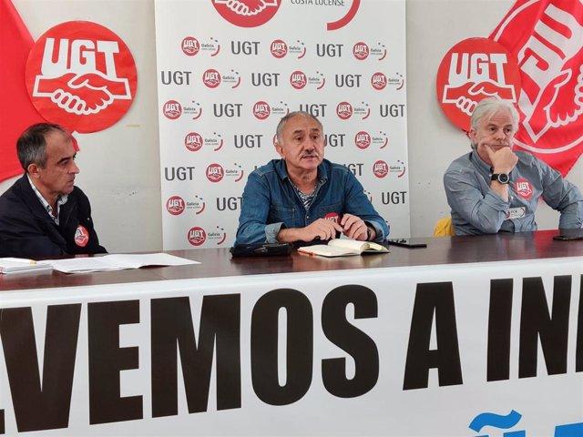 El secretario general de UGT, Pepe Álvarez, en una rueda de prensa sobre Alcoa-San Cibrao en Viveiro (Lugo).