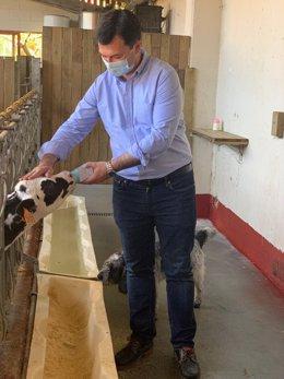 El secretario xeral del PSdeG y candidato a la Presidencia de la Xunta, Gonzalo Caballero, en la visita a la Casa Grande de Xanceda, en Mesía (A Coruña)