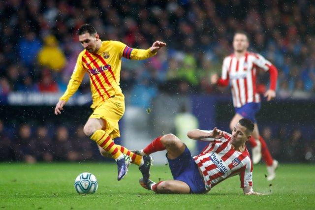 Leo Messi of FC Barcelona during the spanish league, La Liga, football match played between Atletico de Madrid and FC Barcelona at Wanda Metropolitano on December 01, 2019,